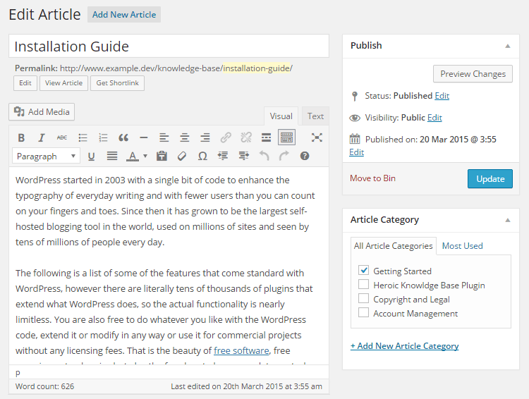 Knowledge Base Article Editor