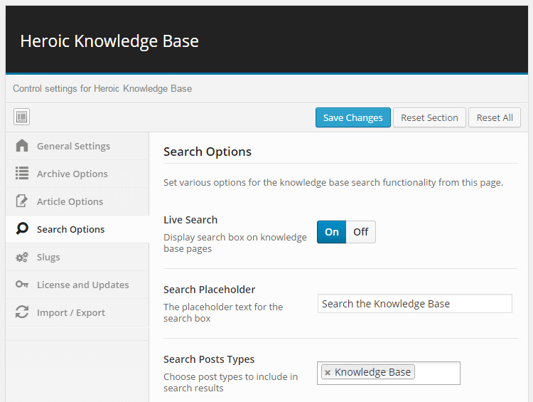 Knowledge Base Control Panel