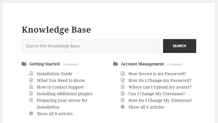 Knowledge Base Example Home Page