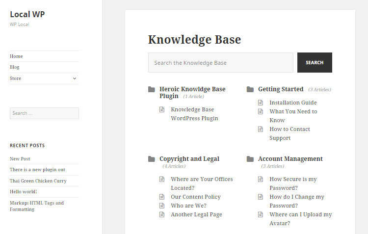 Knowledge Base Front End View