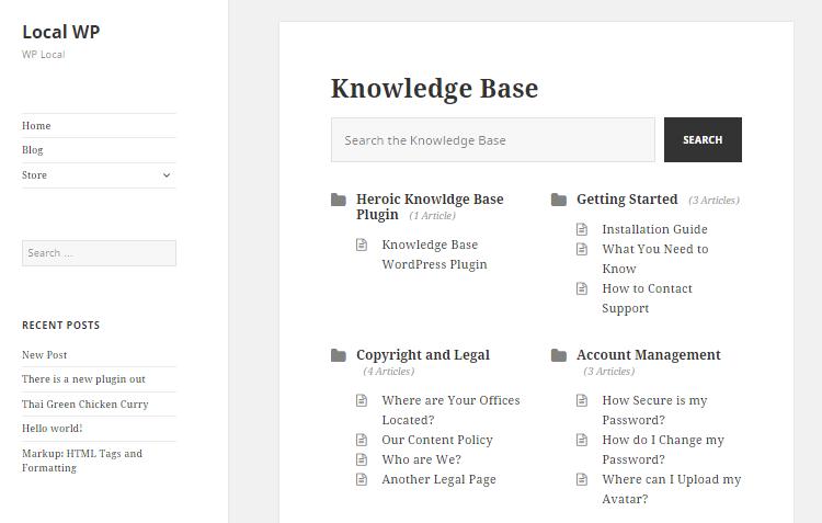 Vista frontal de la base de conocimientos