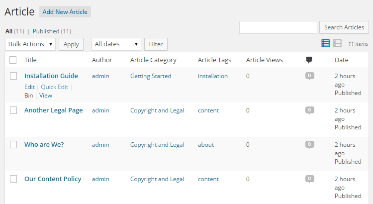 Knowledge Base Manage Articles