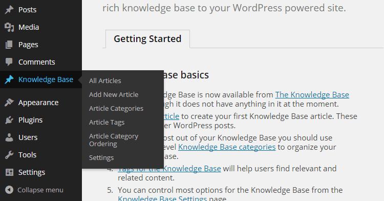 Tipos de publicaciones de la base de conocimientos