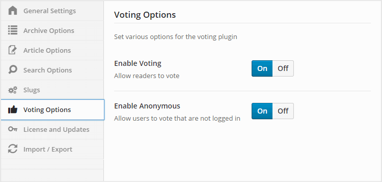 Knowledge Base Voting Settings