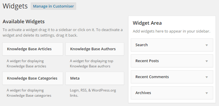 Knowledge Base Widget Options