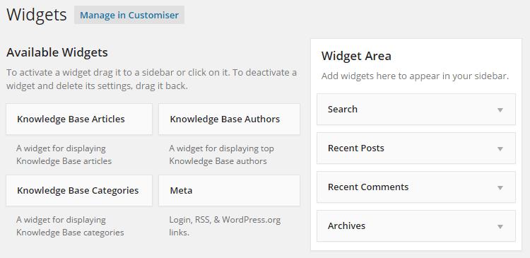 Opciones del widget de la base de conocimientos