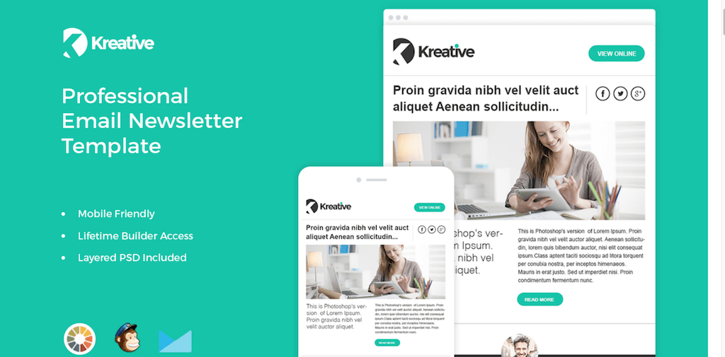 Top Free Paid MailChimp Email Templates Colorlib - Simple newsletter template