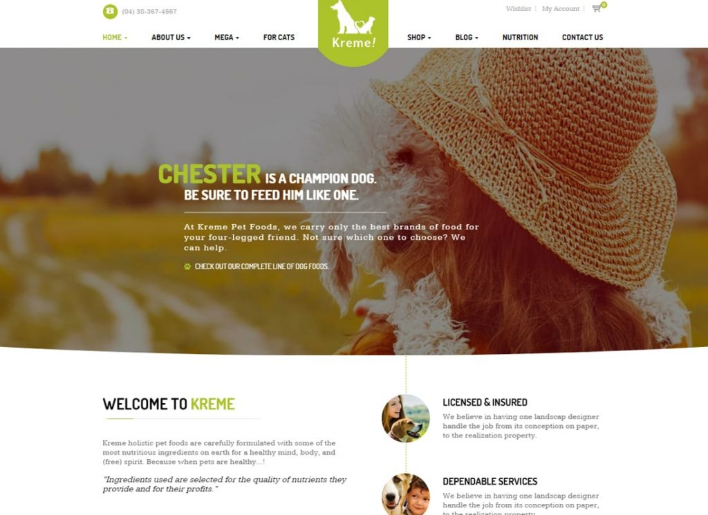 Crème |  Thème WordPress pour animaux de compagnie et boutique