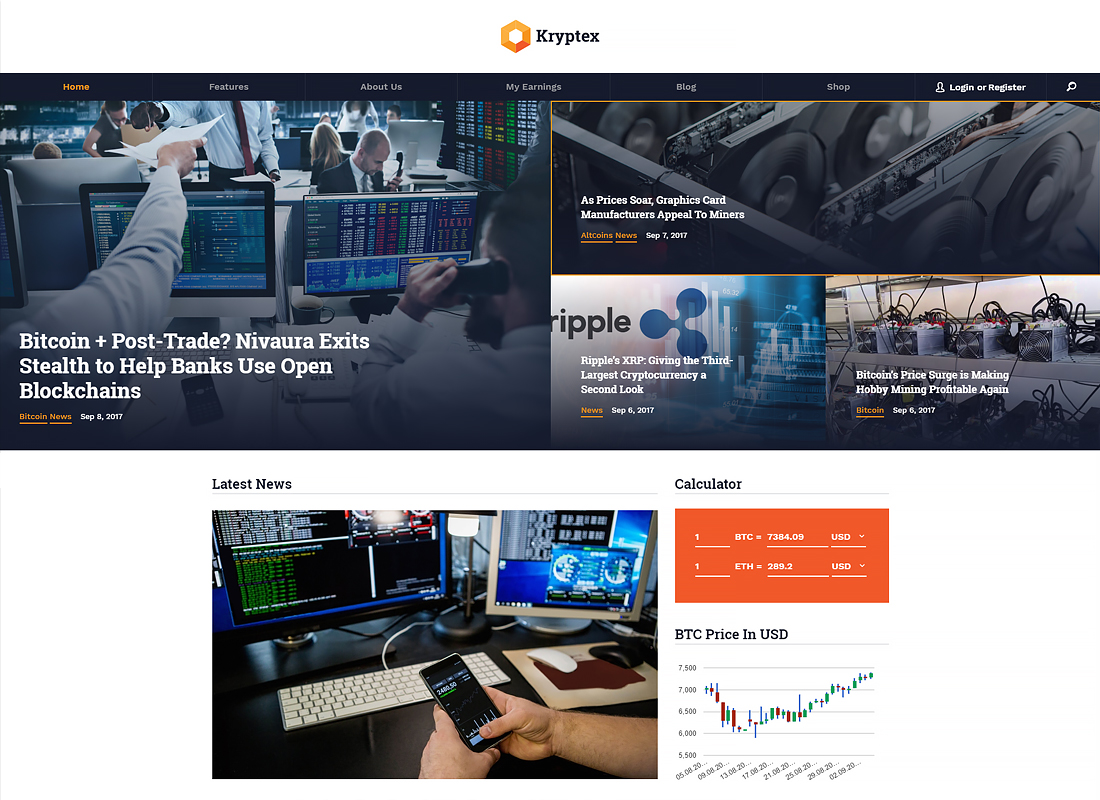 Kryptex - Cryptocurrency & Mining WordPress Theme