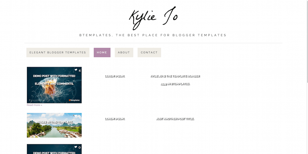 Kylie Jo Blogger template BTemplates