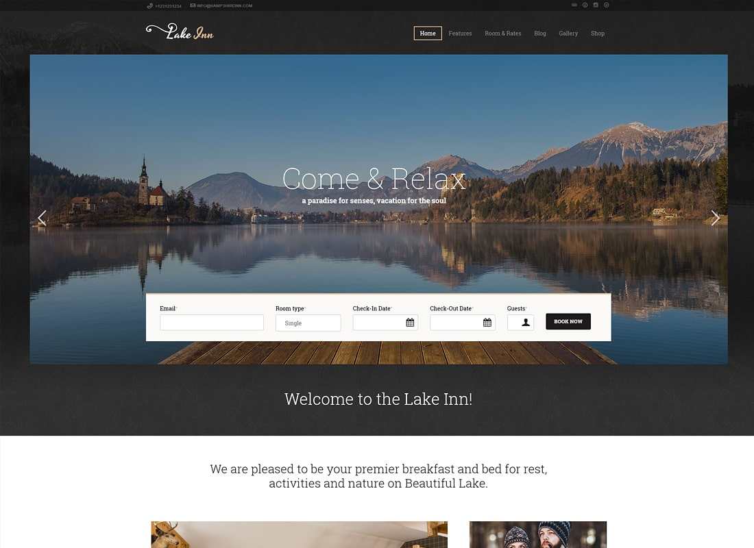LakeInn - Inn, Resort & Hotel WordPress Theme
