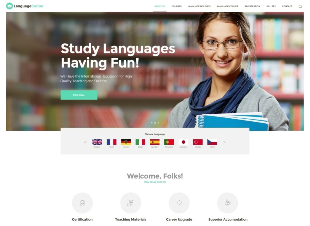 Language Center   Language Center & Online School Education WordPress Theme