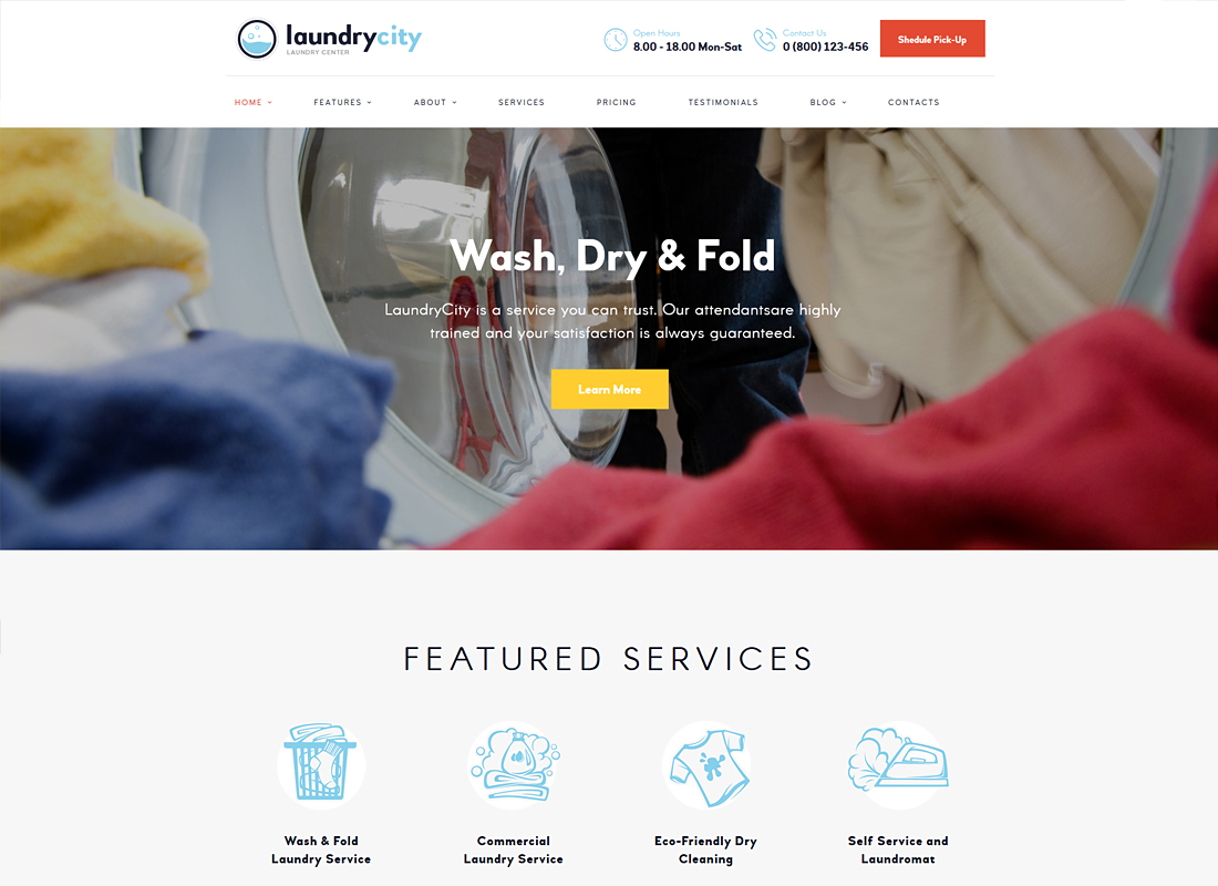 Laundry City - Dry Cleaning & Laundry Services WordPress Theme