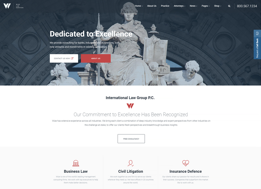 WizeLaw | Law Services, Lawyer & Attorney Business WordPress Theme