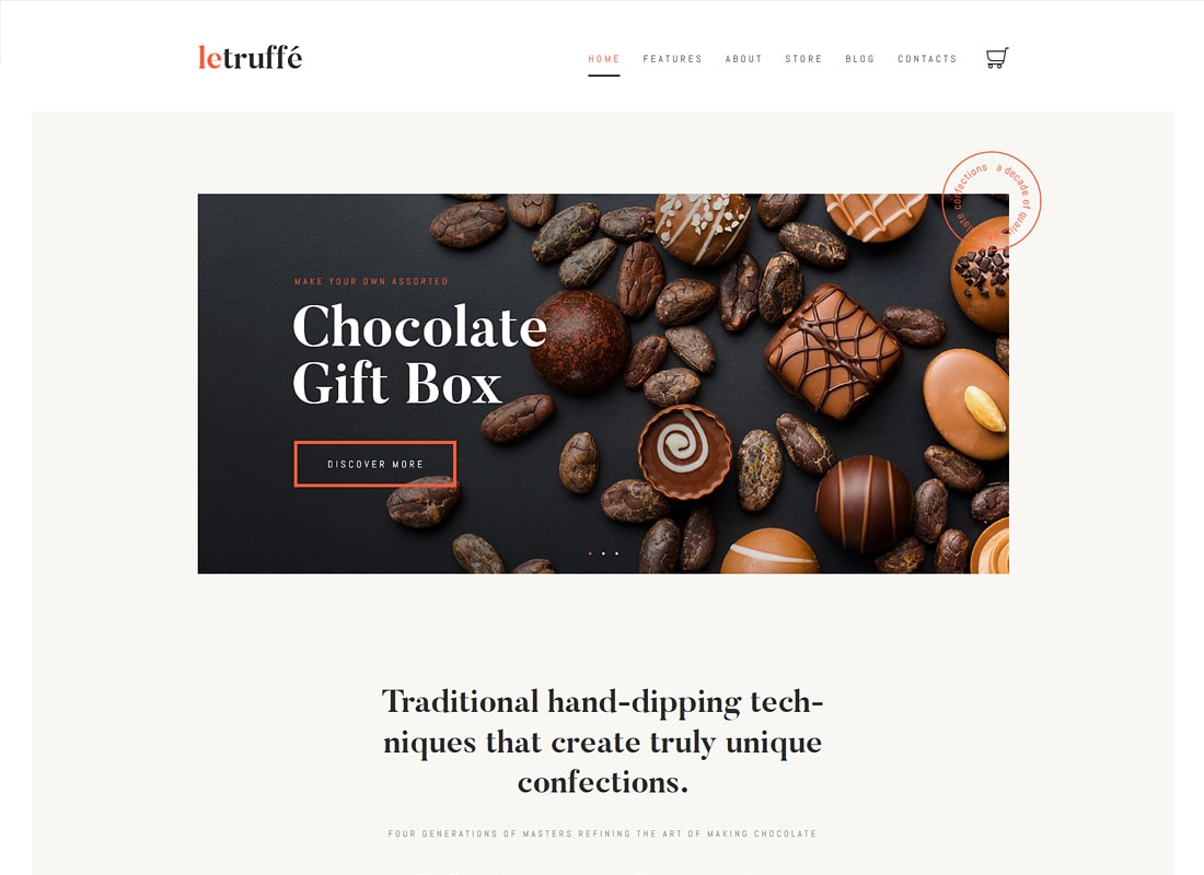 Le Truffe | Chocolate Boutique Luxury WordPress Theme
