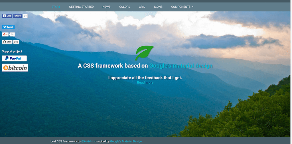 Top 21 best free css3 frameworks for web development 2018 colorlib leaf beta 10 css framework malvernweather Image collections