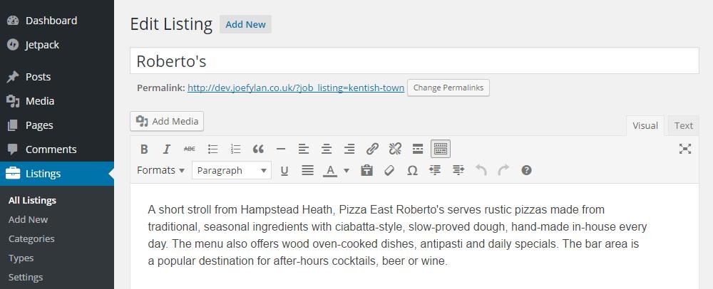 Listable Theme Add Listing Description