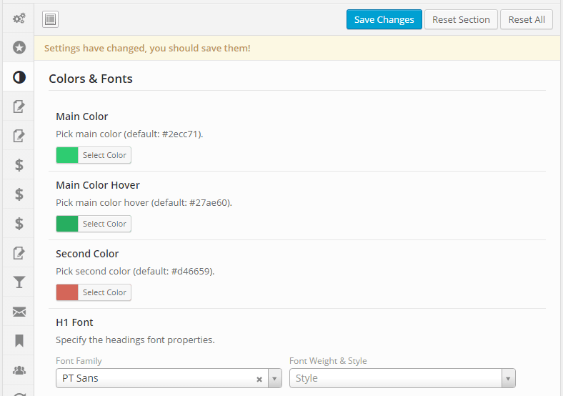 ListingBuilder Colours and Fonts