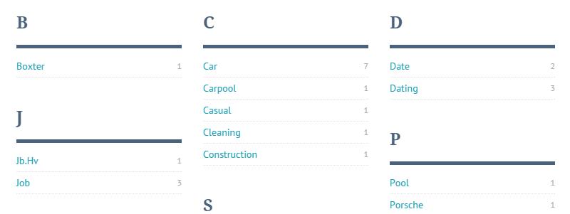 ListingBuilder Tag Index