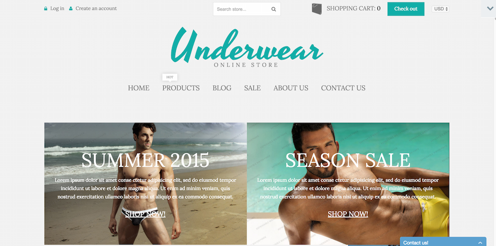 live demo for underwear store shopify free sample shopify theme 53169