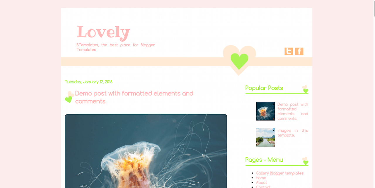 Lovely Blogger template BTemplates
