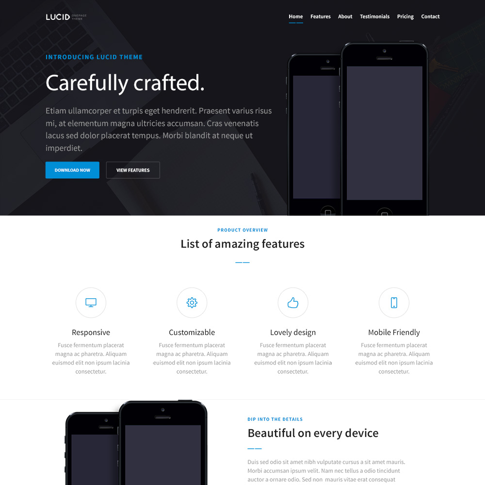 Lucid Free PSD One Page Templates