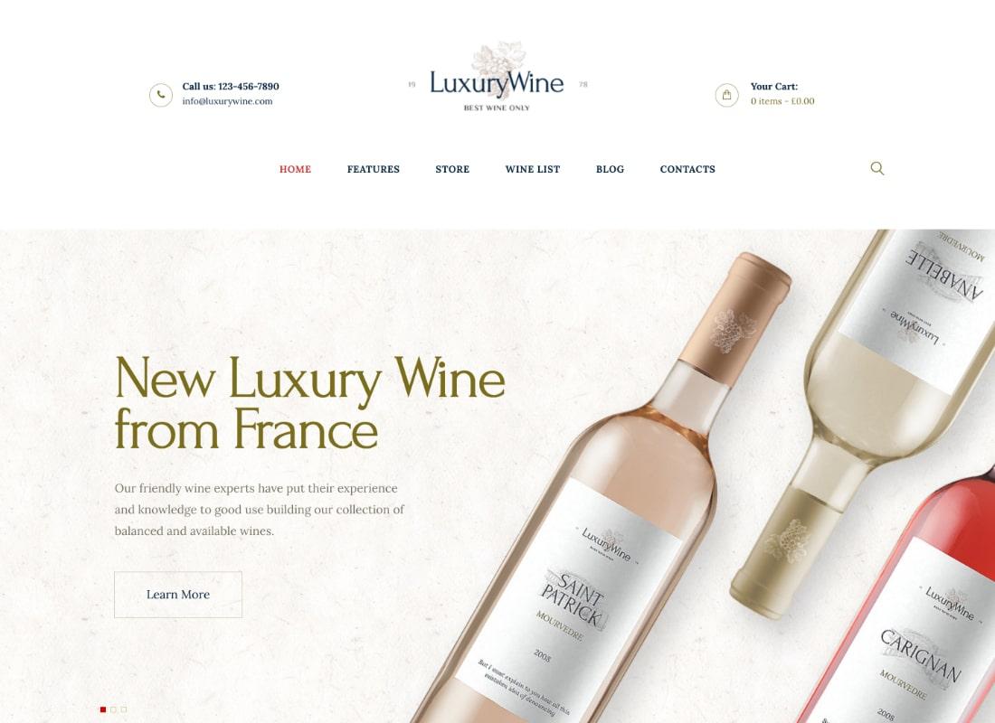 Luxury Wine | Wine House, Winery & Wine Shop WordPress Theme