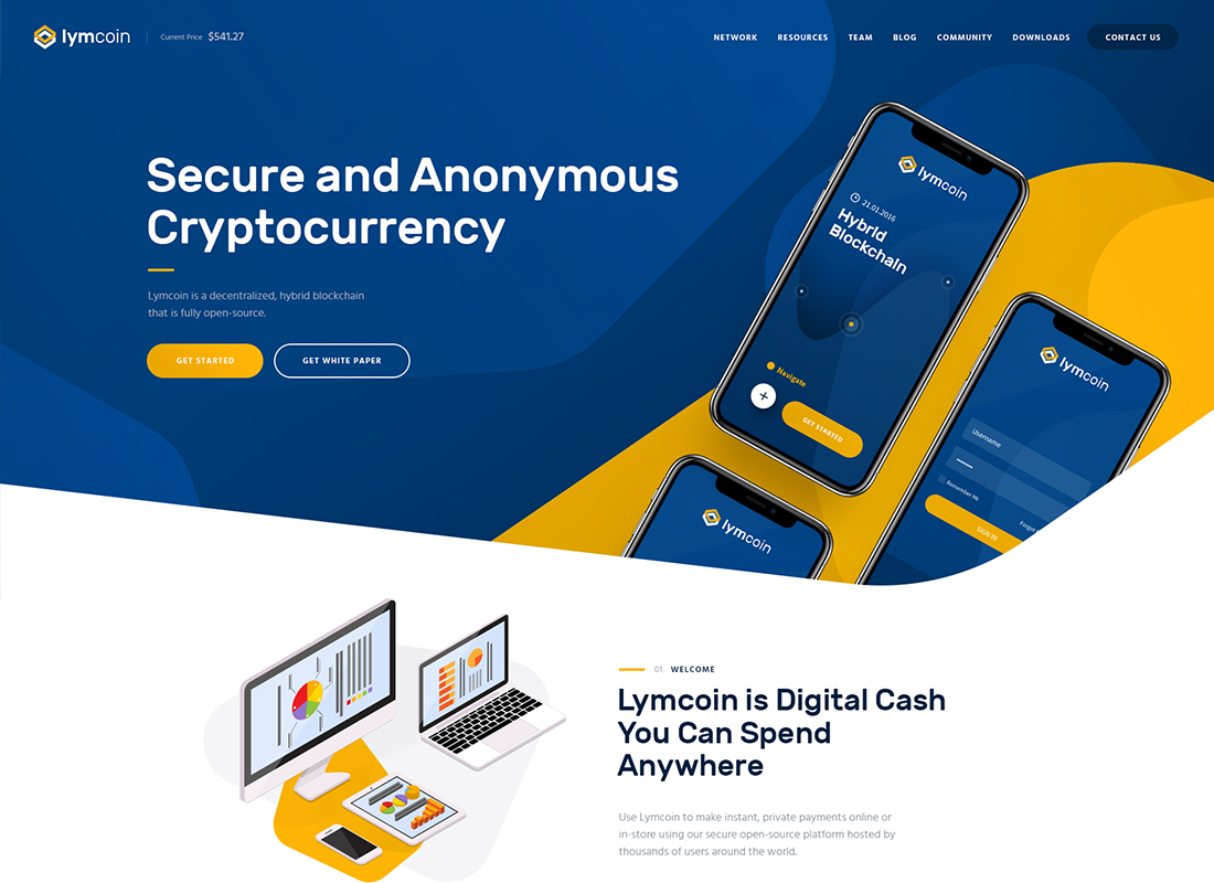 Lymcoin - Cryptocurrency & ICO WordPress Theme