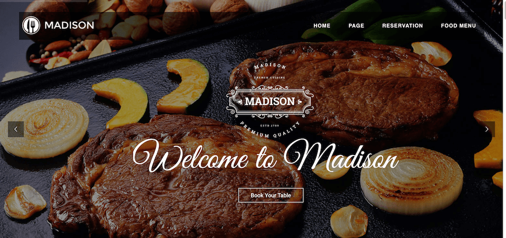 Madison – Restaurant Bootstrap Template