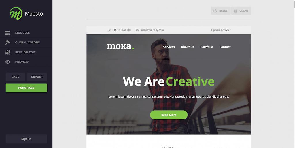 Maesto Demo Mail Builder Moka