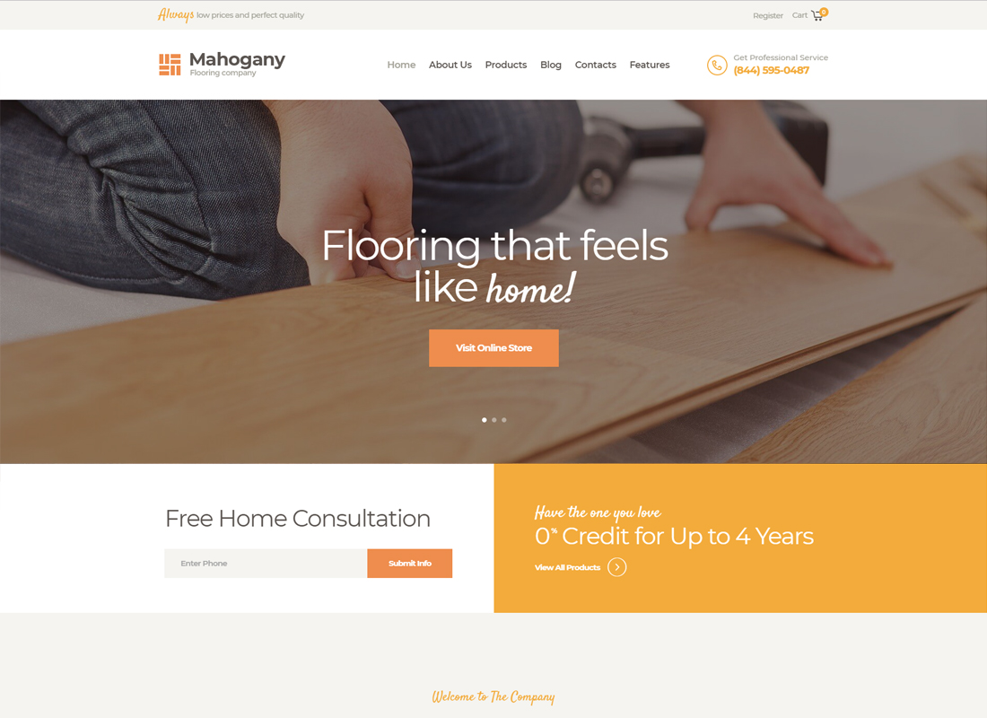 Mahogany - Flooring Company WordPress Theme