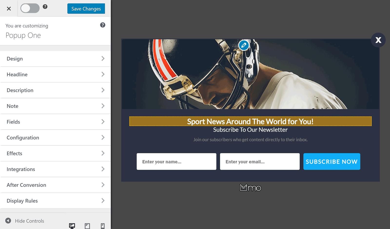 MailOptin Customizer UI