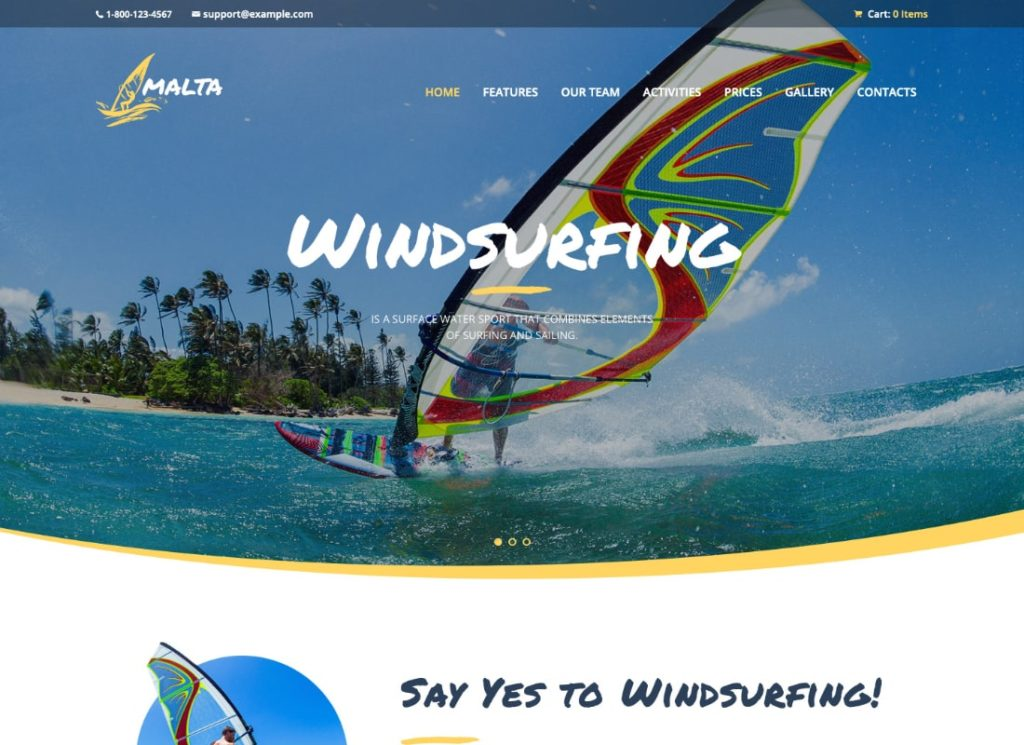 Malta   Windsurfing, Kitesurfing & Wakesurfing Center WordPress Theme