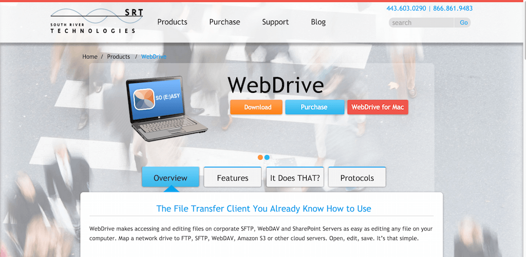 Map drive letter to FTP SFTP WebDAV S3 Cloud.