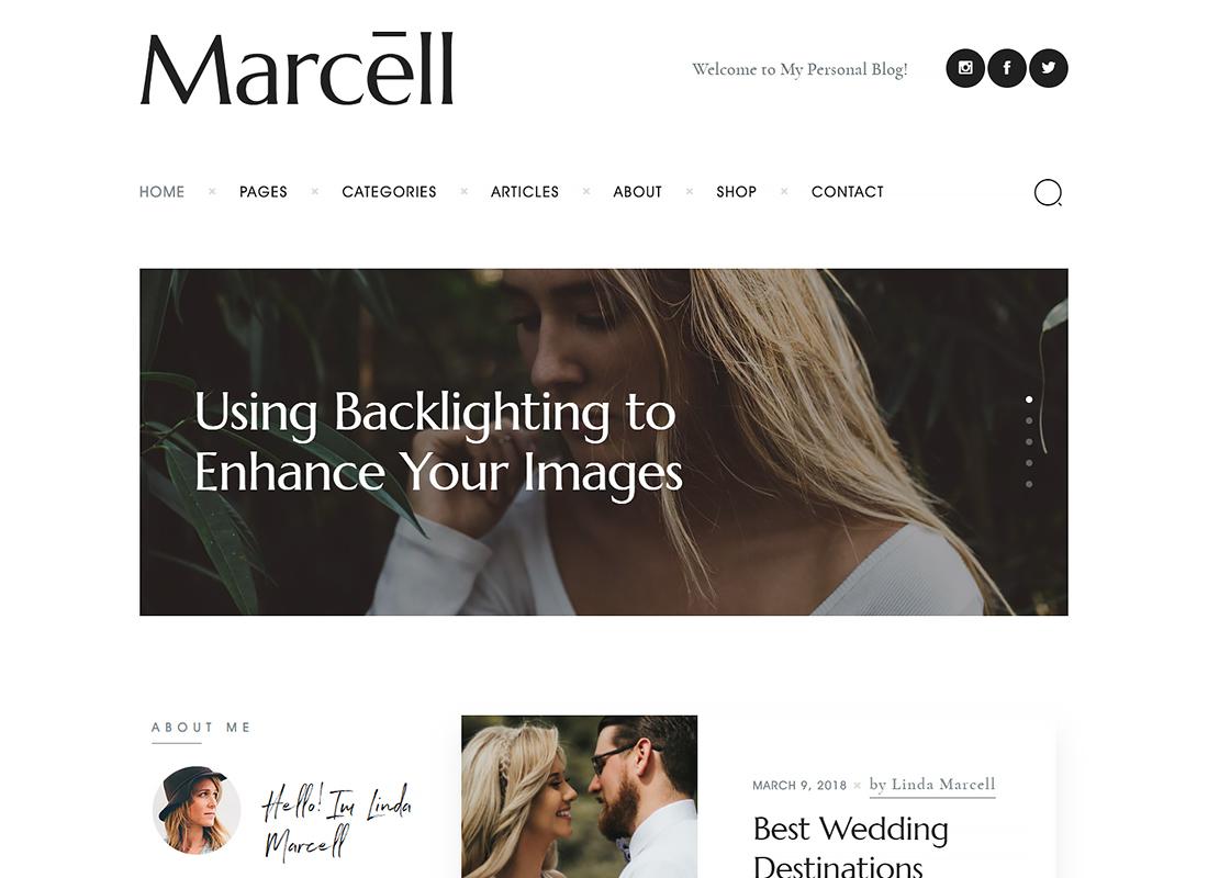 Marcell - Minimal Personal Blog & Magazine WordPress Theme