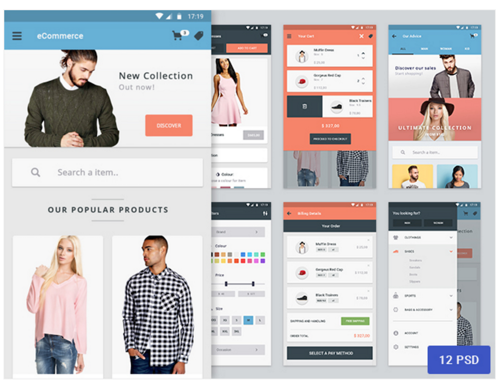 Top 35 free mobile ui kits for app designers 2017 colorlib Best home design app for android