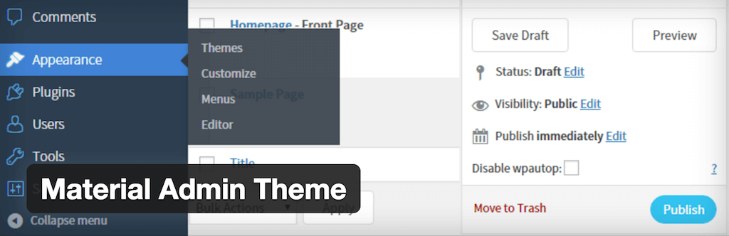 Material Admin Theme — WordPress Plugins