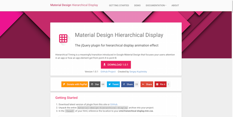 Material Design Hierarchical Display