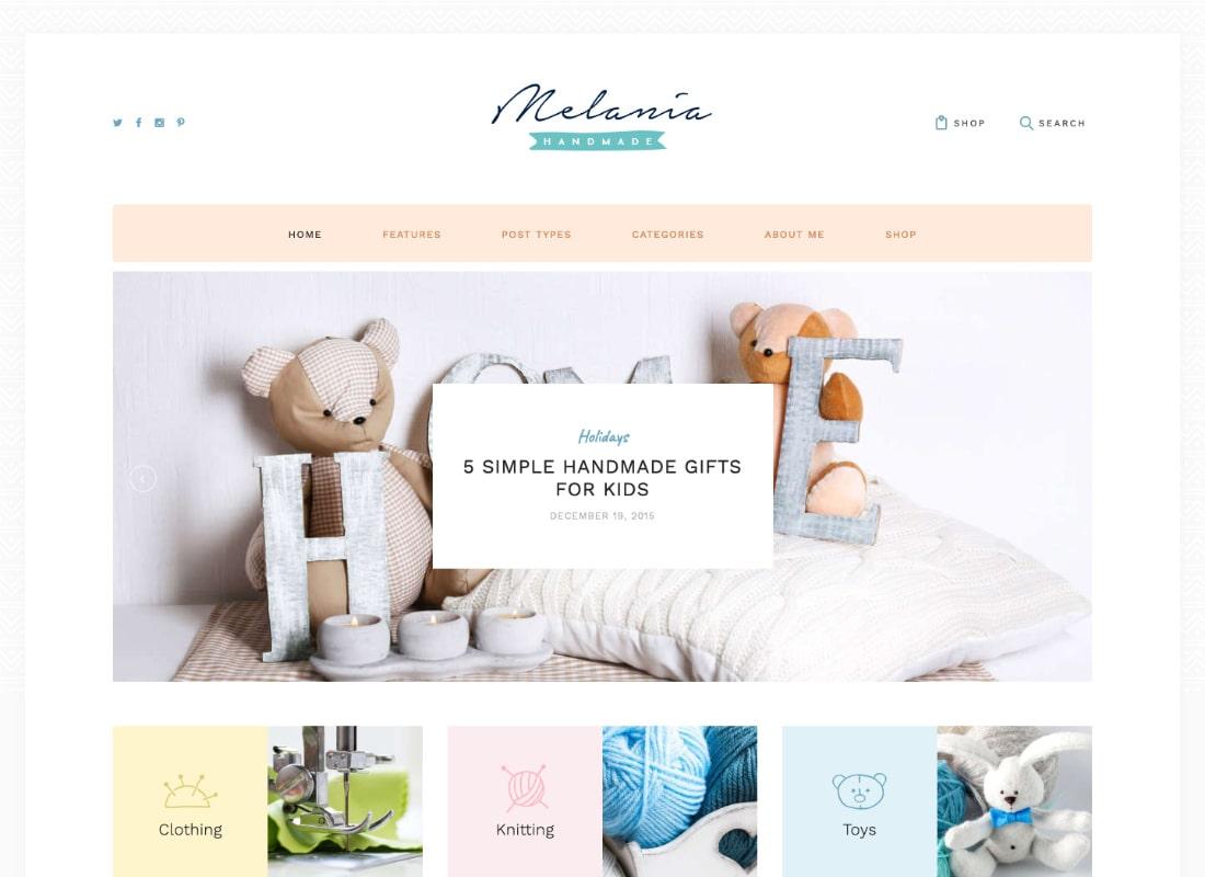 Melania | Handmade Blog & Crafts Shop Artistic WordPress Theme