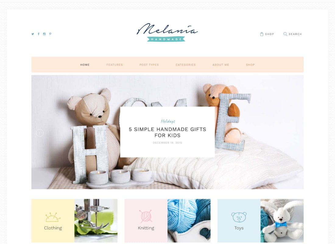 Melania | Handmade Blog & Shop WordPress Theme