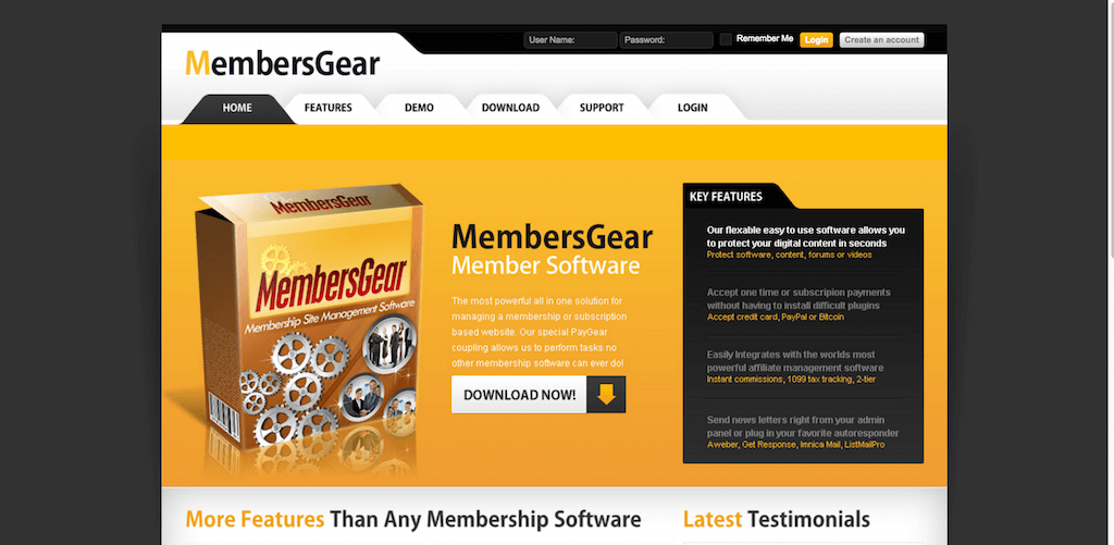 Membership Site Software MembersGear Membership Software Scrpt