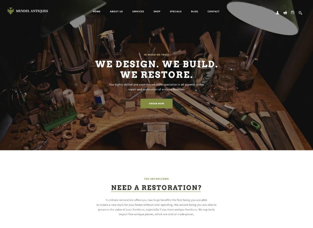 Mendel | Furniture Design & Restoration WordPress Theme
