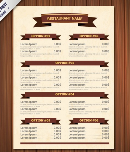 Menu Template With Ribbons  A La Carte Menu Template