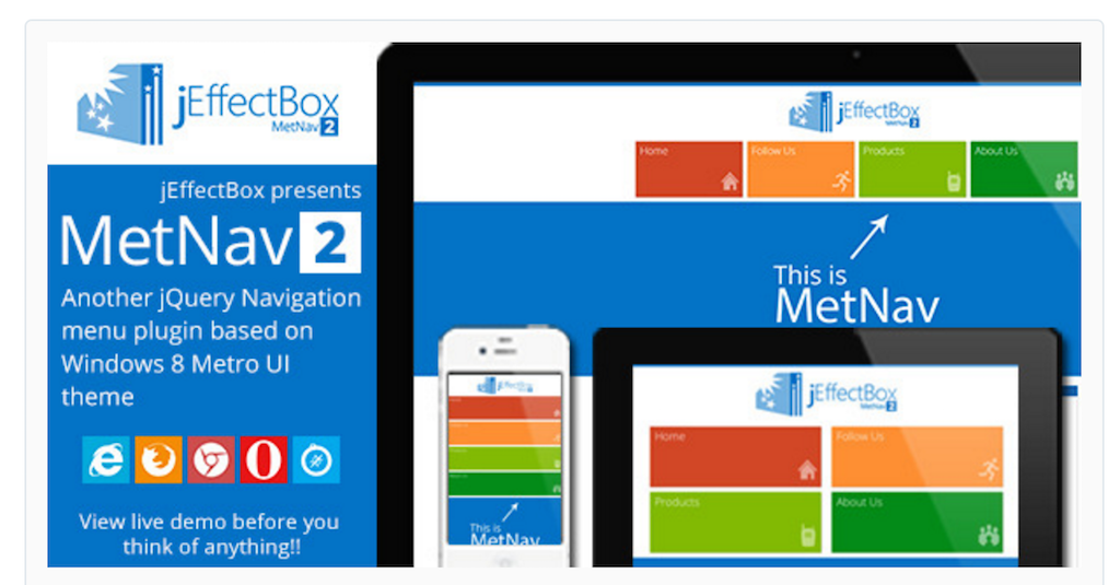 MetNav 2- Another jQuery Metro UI navigation menu