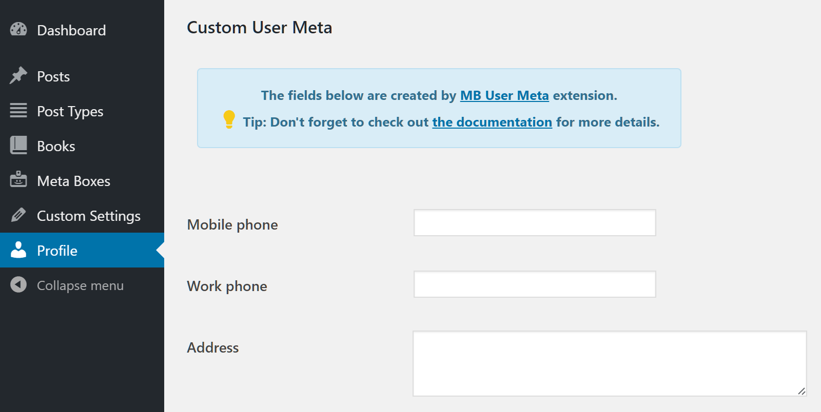 Custom User Meta