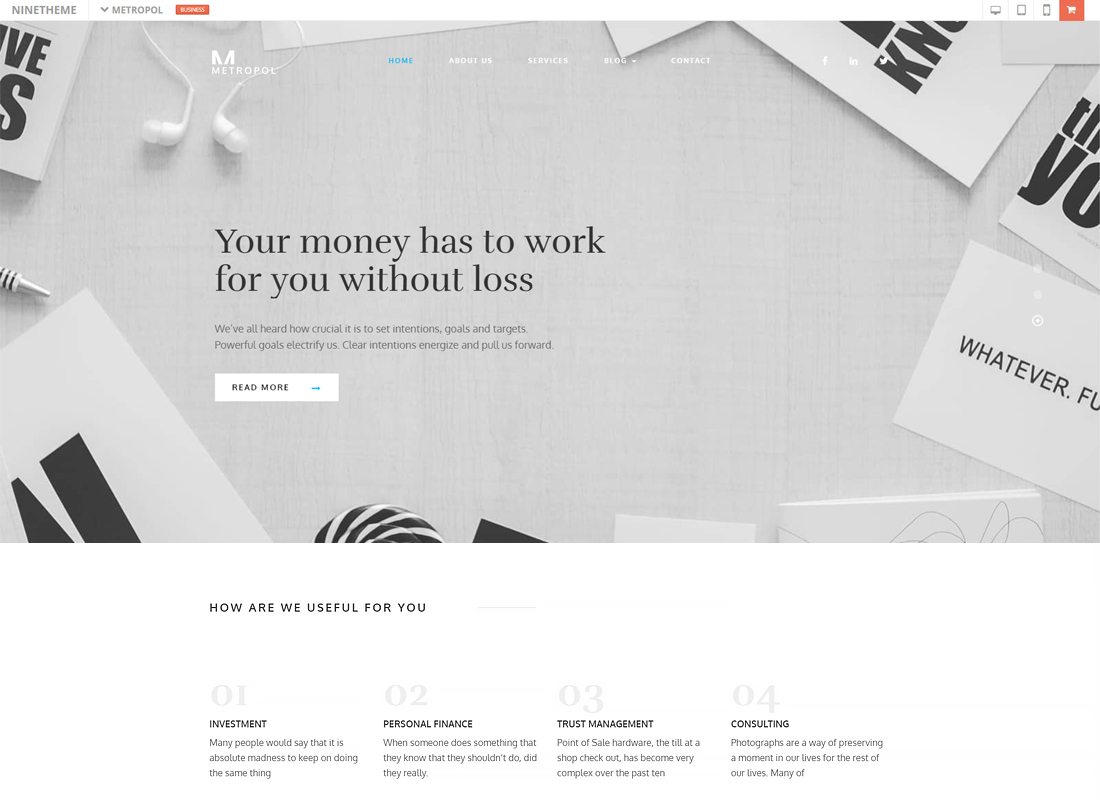 Metropol - A WordPress Theme For Investment & Finance