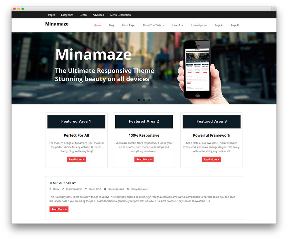 Minamaze - App Showcase theme
