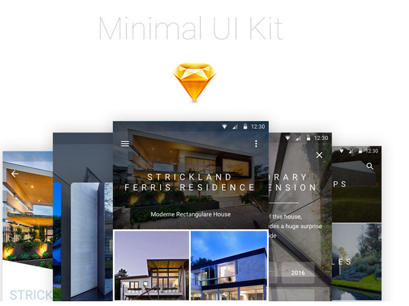 Minimal Android UI Kit Sketch