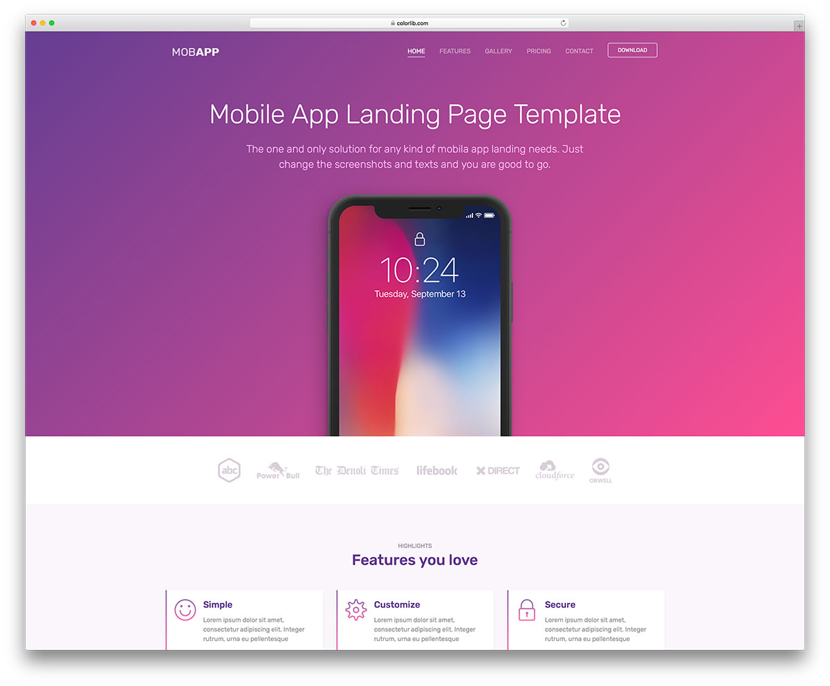 mobapp is a landing page html website template for applications and software spread the word out with an outstanding one page website and drive in more - Html Templates Free Download