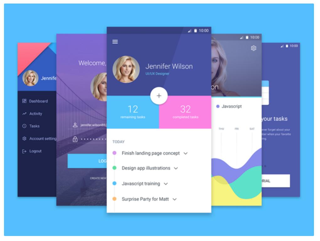 Mobile Material UI Screens